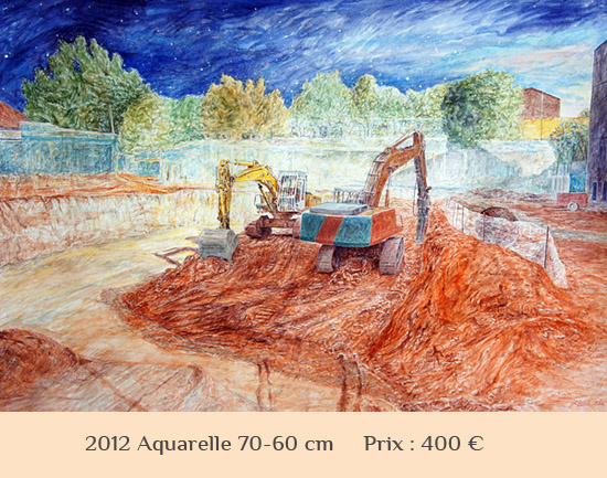 vente aquarelle chantier pelleteuse