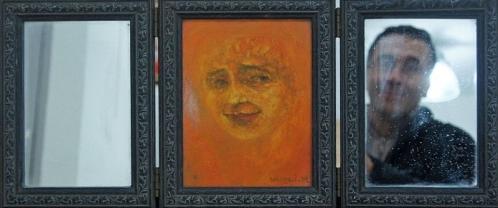 1991 Huile sur toile ,miroirs 52 22cm