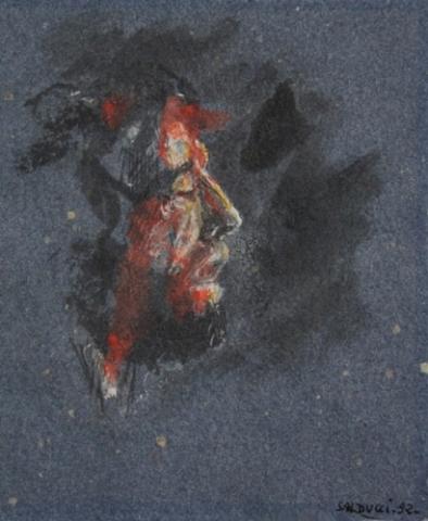 1992 gouache, encre sur papier couleur