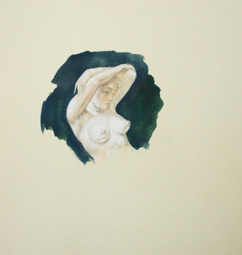 1993 gouache, crayon ,aquarelle 20 20cm, d'apres Courbet