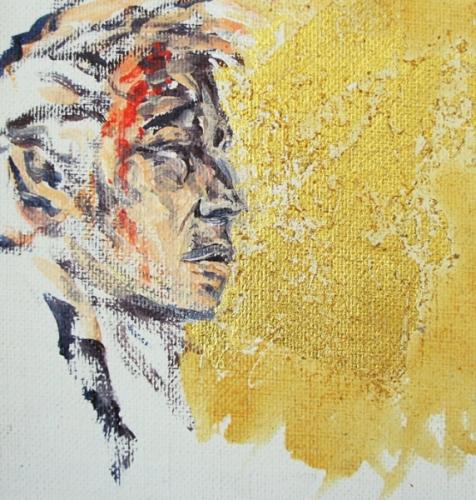2001 acrylique et feuille d'or sur toile