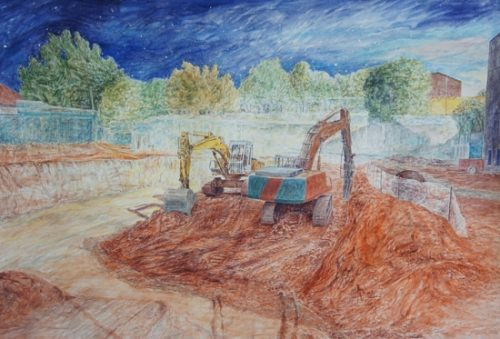Aquarelle chantier pelleteuse