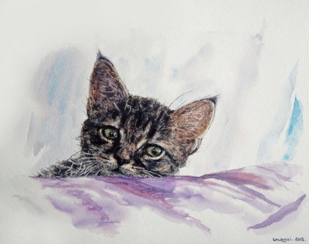 Aquarelle portrait chat 24-30cm